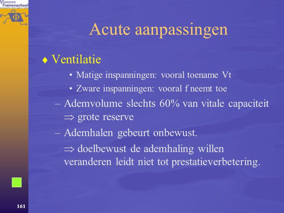 160 Regeling van de ademhaling  Complex  Regeling in rust via controlemechanismen in het bloed  Regeling tijdens inspanning vanuit –De hersenen –De