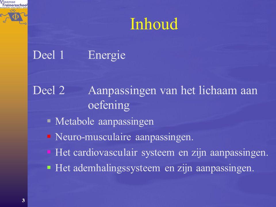 3 Inhoud Deel 1 Energie Deel 2Aanpassingen van het lichaam aan oefening  Metabole aanpassingen  Neuro-musculaire aanpassingen.