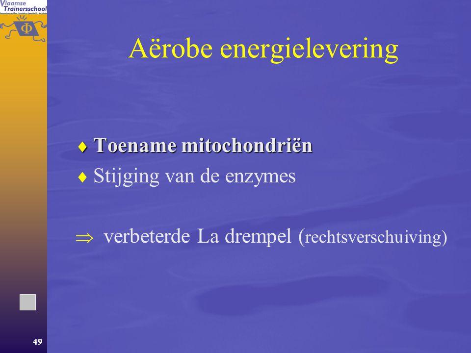 48 Chronische aanpassingen  Aërobe energielevering  Anaërobe energielevering