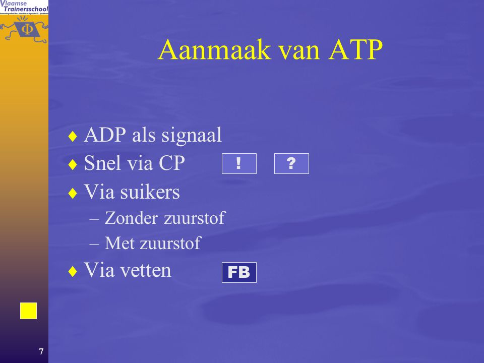 6 ATP  Stelt onze spieren in staat te werken.  Er is slechts een heel kleine voorraad.  Het lichaam zal continu ATP moeten aanmaken wil de atleet z