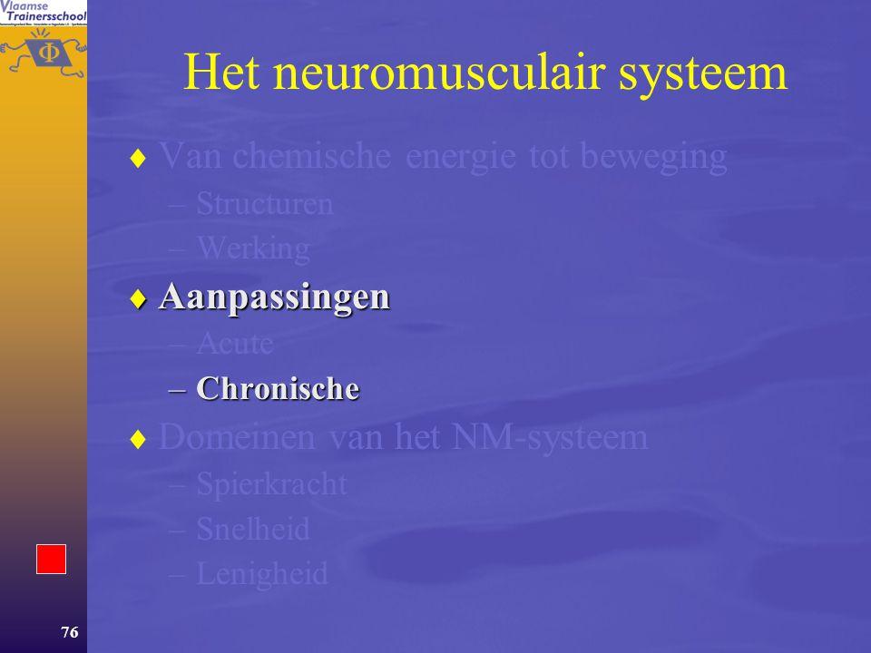 75 Vermoeidheid  Treedt op ter hoogte van: –de overdracht van de impuls op de spiervezel. –het contractiemechanisme.  Sensorische zenuwvezels regist