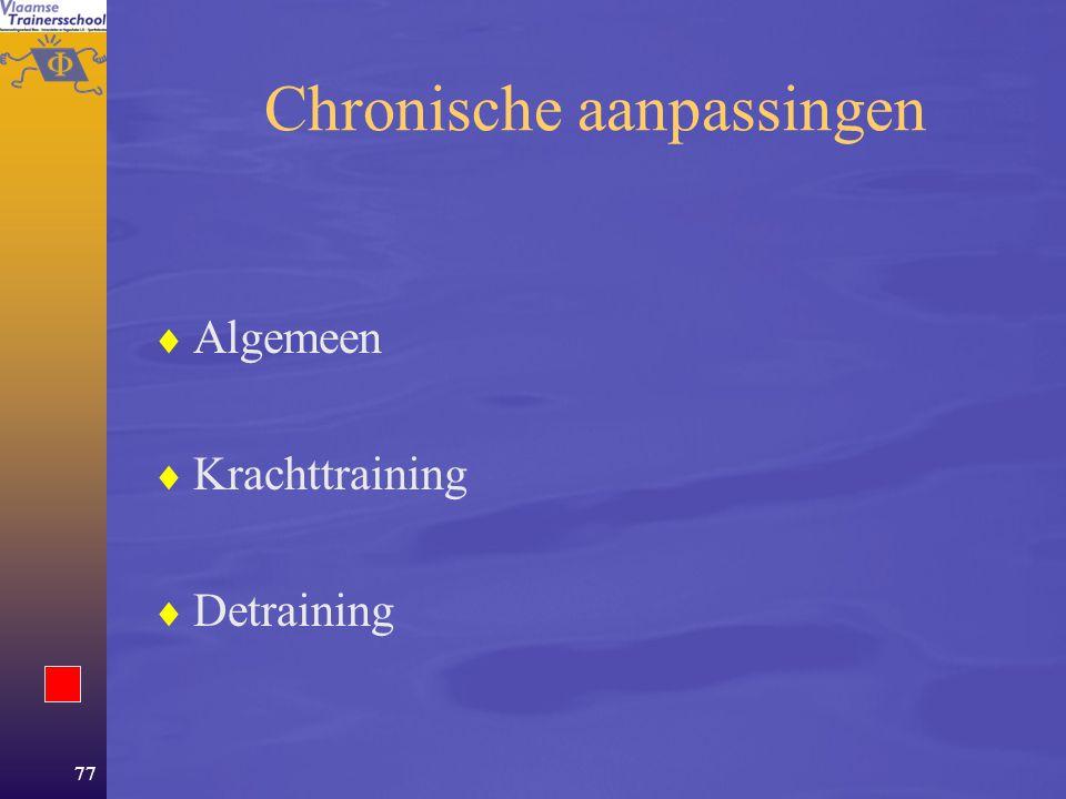 76 Het neuromusculair systeem  Van chemische energie tot beweging –Structuren –Werking  Aanpassingen –Acute –Chronische  Domeinen van het NM-systeem –Spierkracht –Snelheid –Lenigheid