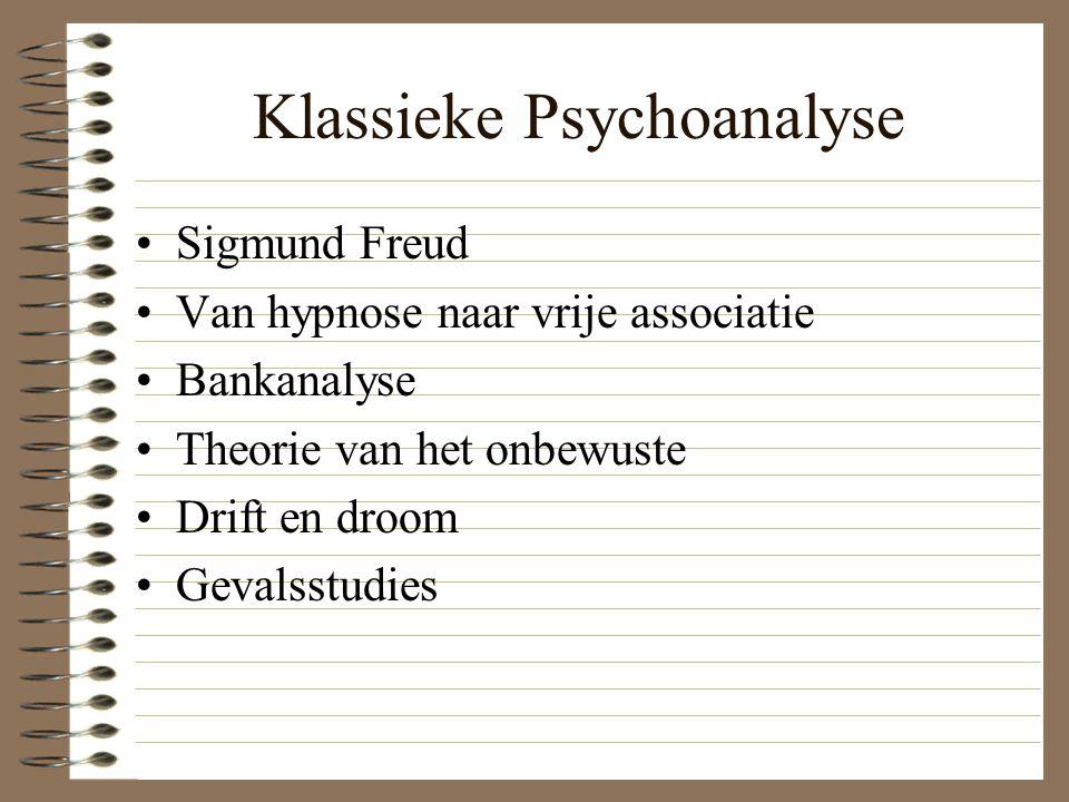 Klassieke Psychoanalyse Sigmund Freud Van hypnose naar vrije associatie Bankanalyse Theorie van het onbewuste Drift en droom Gevalsstudies