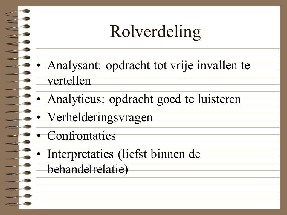 Rolverdeling Analysant: opdracht tot vrije invallen te vertellen Analyticus: opdracht goed te luisteren Verhelderingsvragen Confrontaties Interpretati