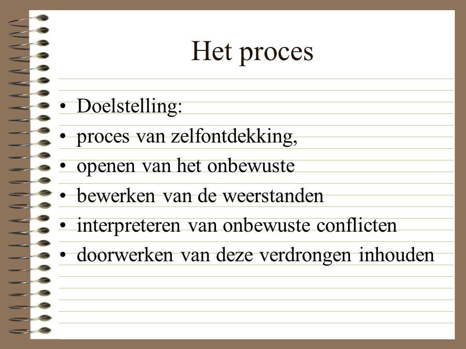 Het proces Doelstelling: proces van zelfontdekking, openen van het onbewuste bewerken van de weerstanden interpreteren van onbewuste conflicten doorwe