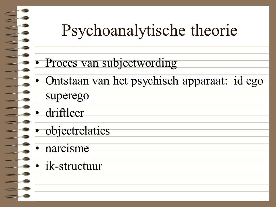 Psychoanalytische theorie Proces van subjectwording Ontstaan van het psychisch apparaat: id ego superego driftleer objectrelaties narcisme ik-structuu