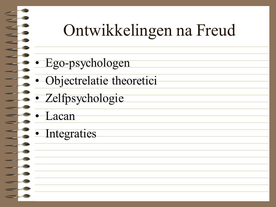 Ontwikkelingen na Freud Ego-psychologen Objectrelatie theoretici Zelfpsychologie Lacan Integraties