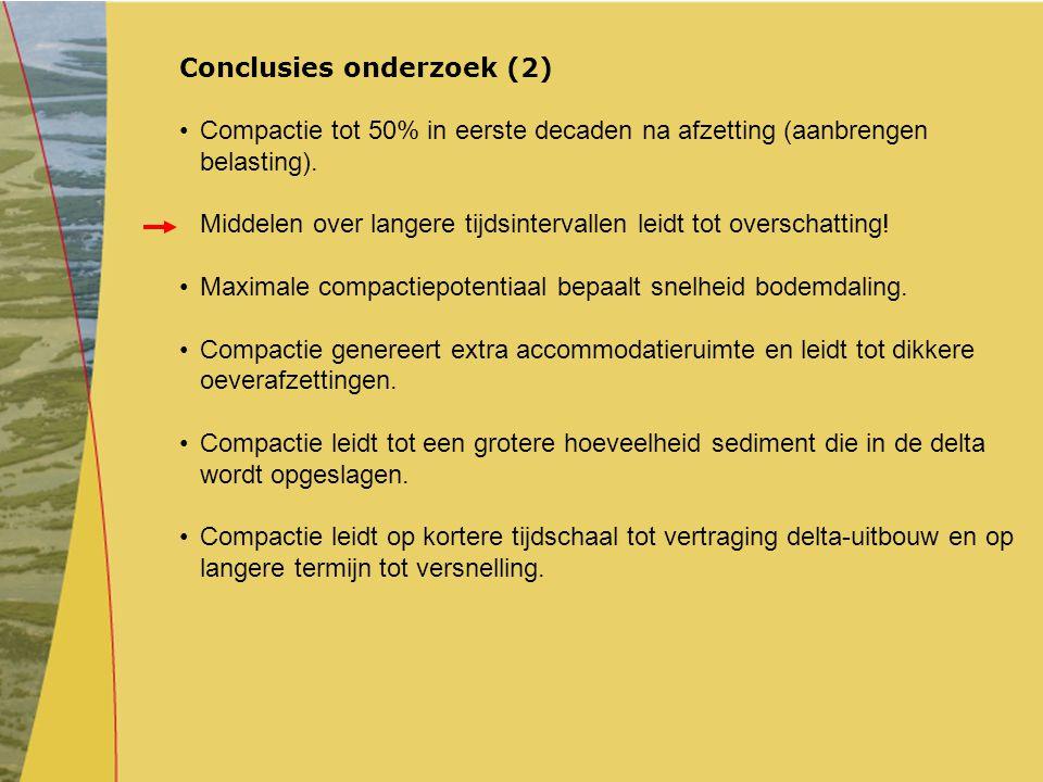Conclusies onderzoek (2) Compactie tot 50% in eerste decaden na afzetting (aanbrengen belasting). Middelen over langere tijdsintervallen leidt tot ove