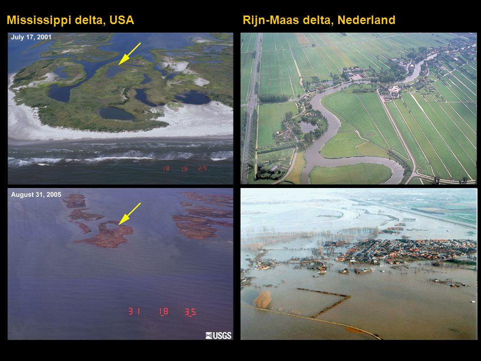 Mississippi delta, USA Rijn-Maas delta, Nederland