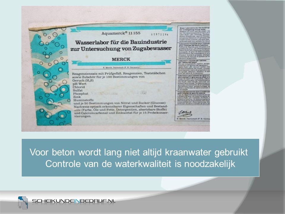 Voor beton wordt lang niet altijd kraanwater gebruikt Controle van de waterkwaliteit is noodzakelijk