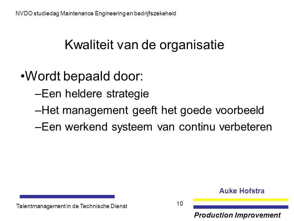 Auke Hofstra Production Improvement NVDO studiedag Maintenance Engineering en bedrijfszekeheid Talentmanagement in de Technische Dienst 10 Kwaliteit v