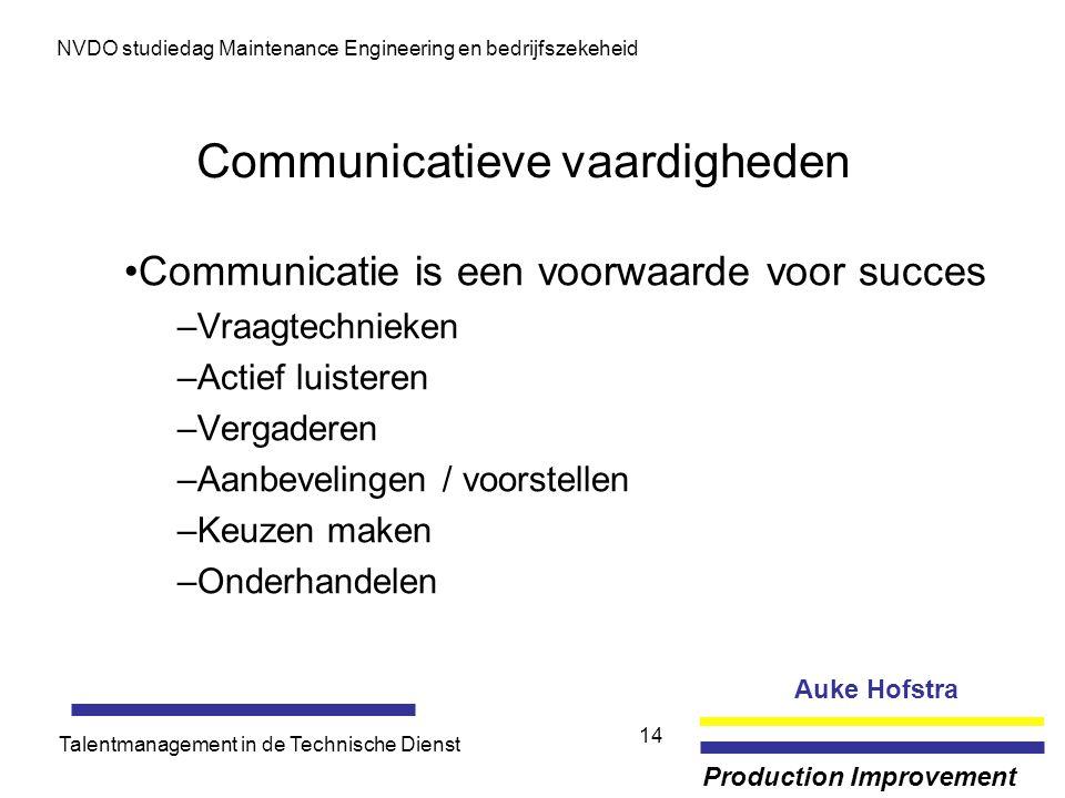 Auke Hofstra Production Improvement NVDO studiedag Maintenance Engineering en bedrijfszekeheid Talentmanagement in de Technische Dienst 14 Communicati