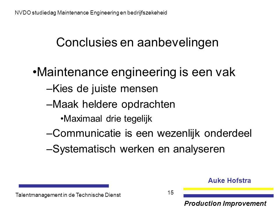Auke Hofstra Production Improvement NVDO studiedag Maintenance Engineering en bedrijfszekeheid Talentmanagement in de Technische Dienst 15 Conclusies