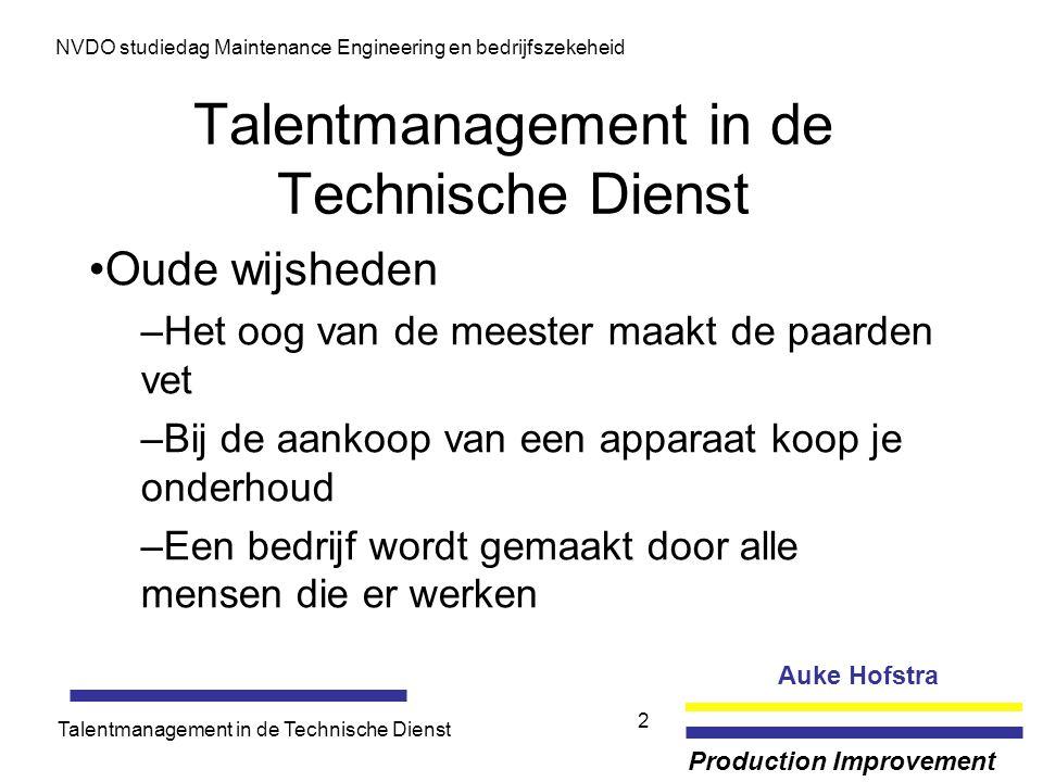 Auke Hofstra Production Improvement NVDO studiedag Maintenance Engineering en bedrijfszekeheid Talentmanagement in de Technische Dienst 2 Oude wijshed
