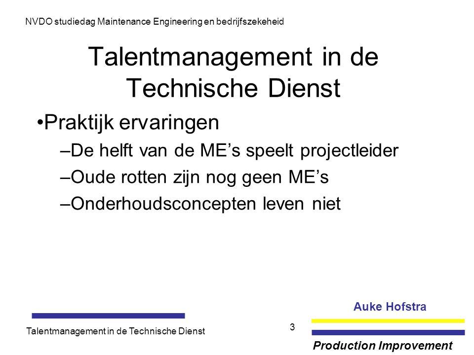 Auke Hofstra Production Improvement NVDO studiedag Maintenance Engineering en bedrijfszekeheid Talentmanagement in de Technische Dienst 3 Praktijk erv