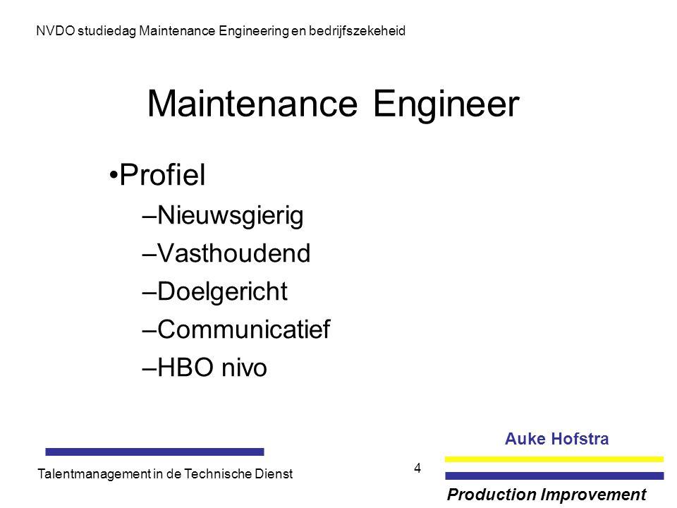 Auke Hofstra Production Improvement NVDO studiedag Maintenance Engineering en bedrijfszekeheid Talentmanagement in de Technische Dienst 4 Maintenance