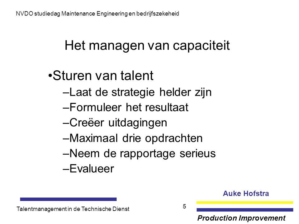 Auke Hofstra Production Improvement NVDO studiedag Maintenance Engineering en bedrijfszekeheid Talentmanagement in de Technische Dienst 5 Het managen