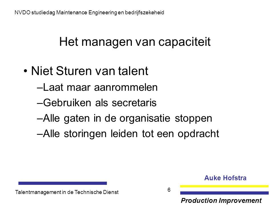 Auke Hofstra Production Improvement NVDO studiedag Maintenance Engineering en bedrijfszekeheid Talentmanagement in de Technische Dienst 6 Het managen