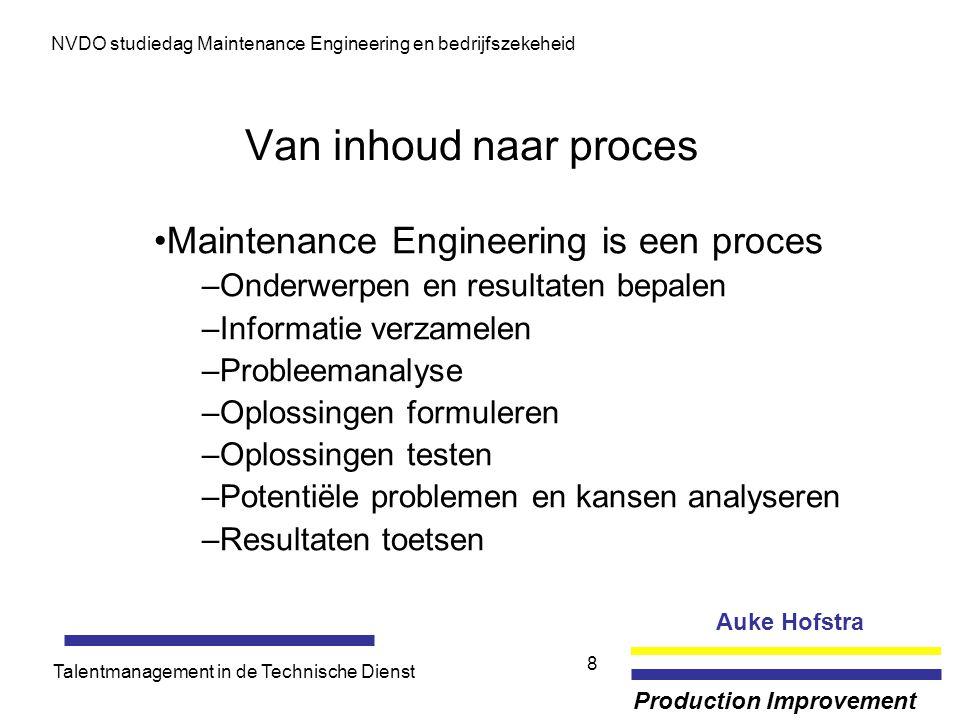 Auke Hofstra Production Improvement NVDO studiedag Maintenance Engineering en bedrijfszekeheid Talentmanagement in de Technische Dienst 8 Van inhoud n