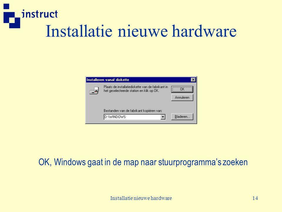 Installatie nieuwe hardware14 Installatie nieuwe hardware OK, Windows gaat in de map naar stuurprogramma's zoeken