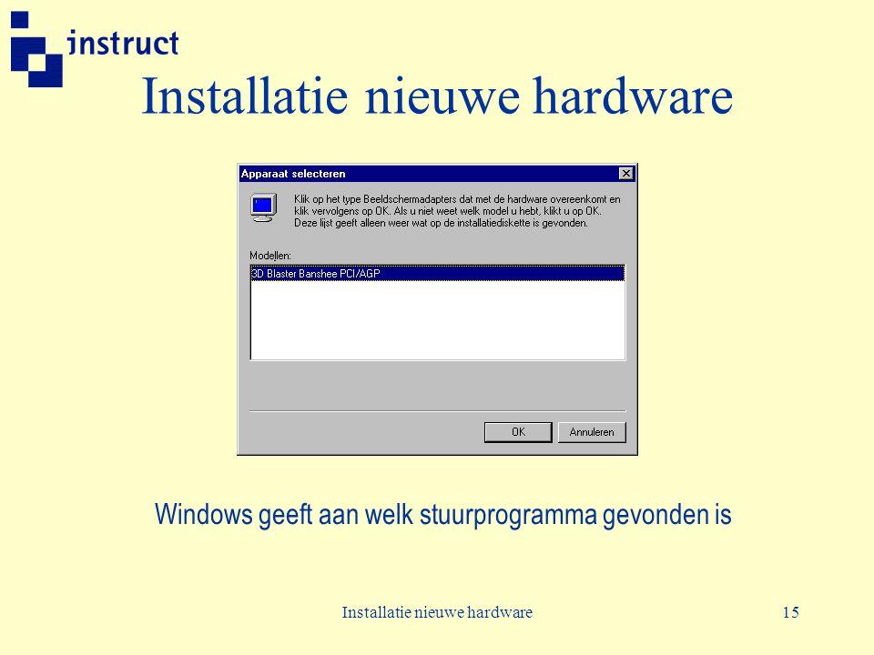 Installatie nieuwe hardware15 Installatie nieuwe hardware Windows geeft aan welk stuurprogramma gevonden is