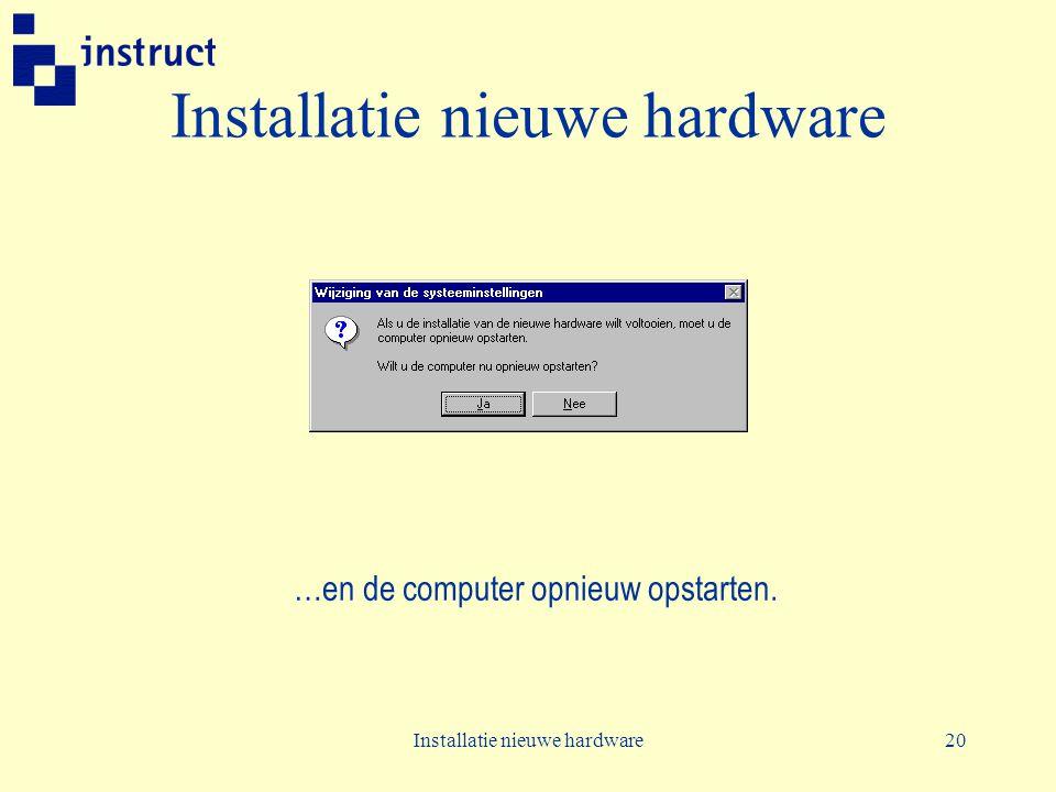 Installatie nieuwe hardware20 Installatie nieuwe hardware …en de computer opnieuw opstarten.