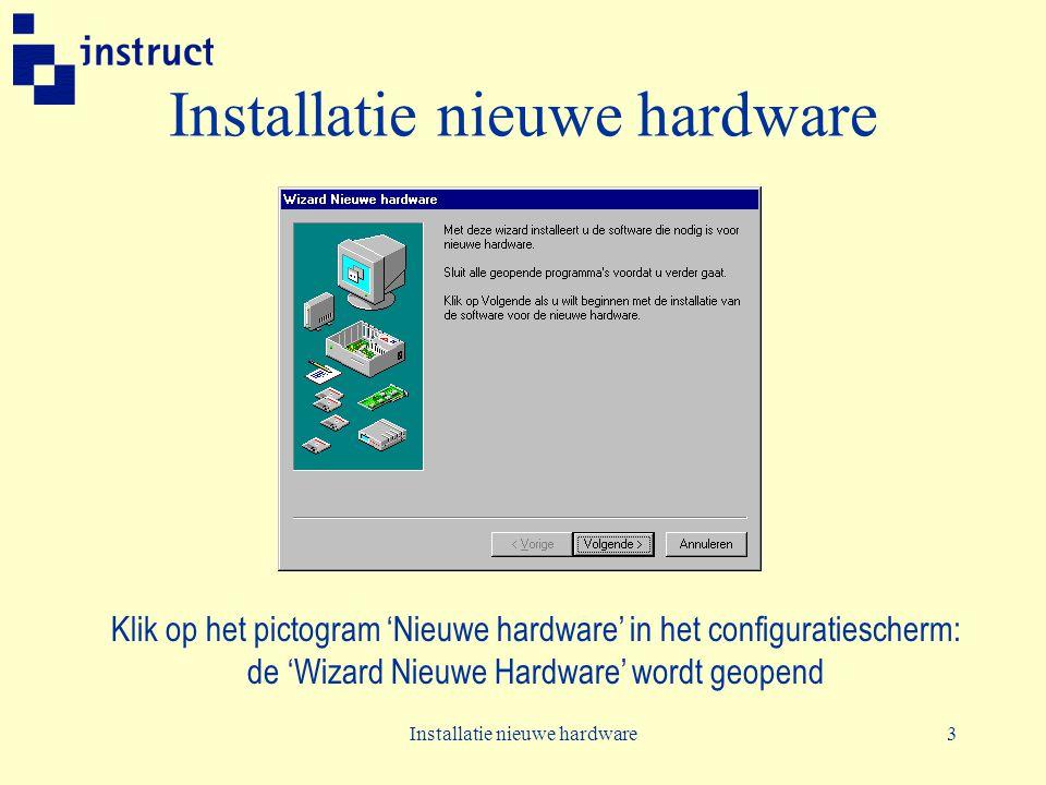 Installatie nieuwe hardware3 Klik op het pictogram 'Nieuwe hardware' in het configuratiescherm: de 'Wizard Nieuwe Hardware' wordt geopend