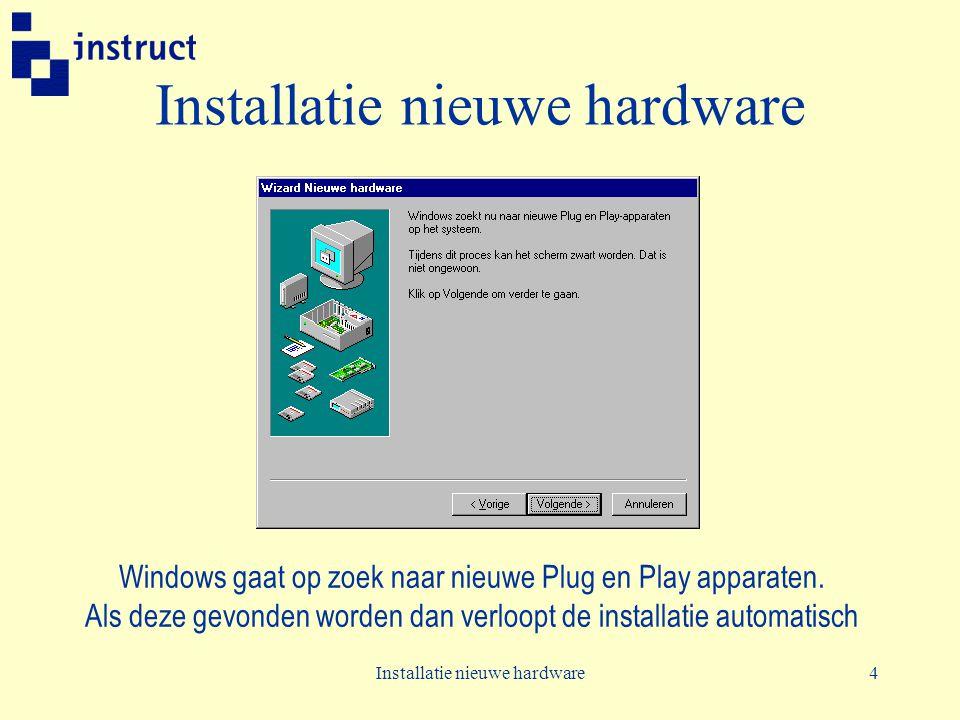 Installatie nieuwe hardware4 Windows gaat op zoek naar nieuwe Plug en Play apparaten. Als deze gevonden worden dan verloopt de installatie automatisch