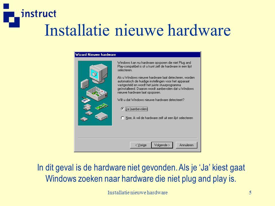 Installatie nieuwe hardware5 In dit geval is de hardware niet gevonden. Als je 'Ja' kiest gaat Windows zoeken naar hardware die niet plug and play is.