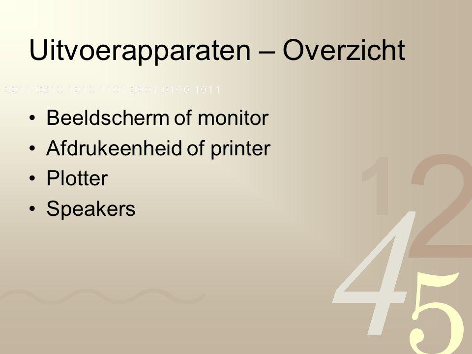 Uitvoerapparaten – Overzicht Beeldscherm of monitor Afdrukeenheid of printer Plotter Speakers
