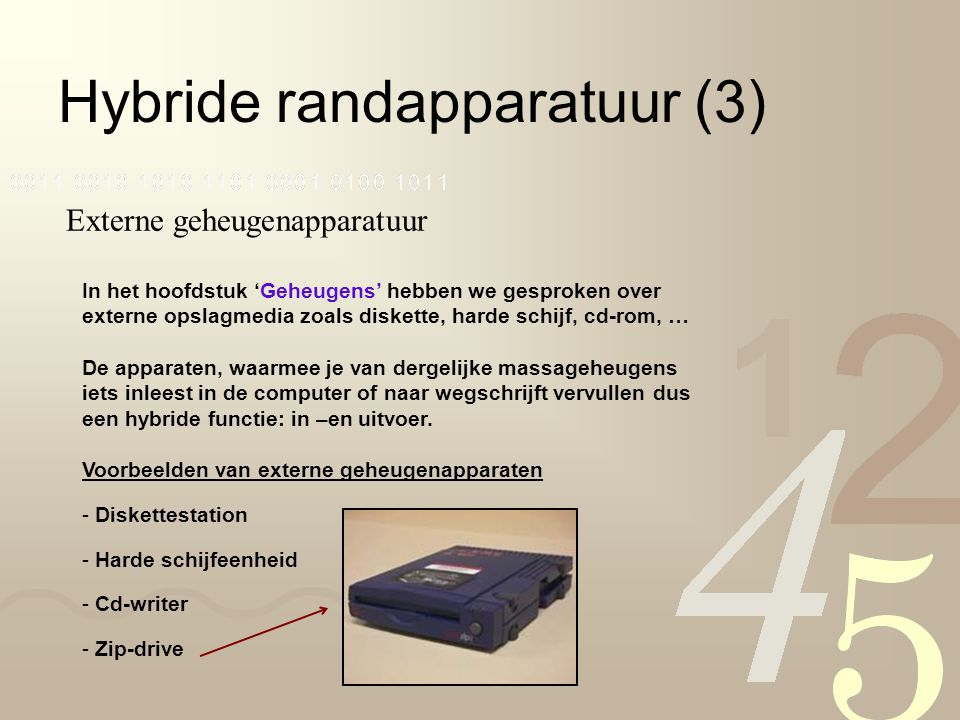 Hybride randapparatuur (3) Externe geheugenapparatuur In het hoofdstuk 'Geheugens' hebben we gesproken over externe opslagmedia zoals diskette, harde