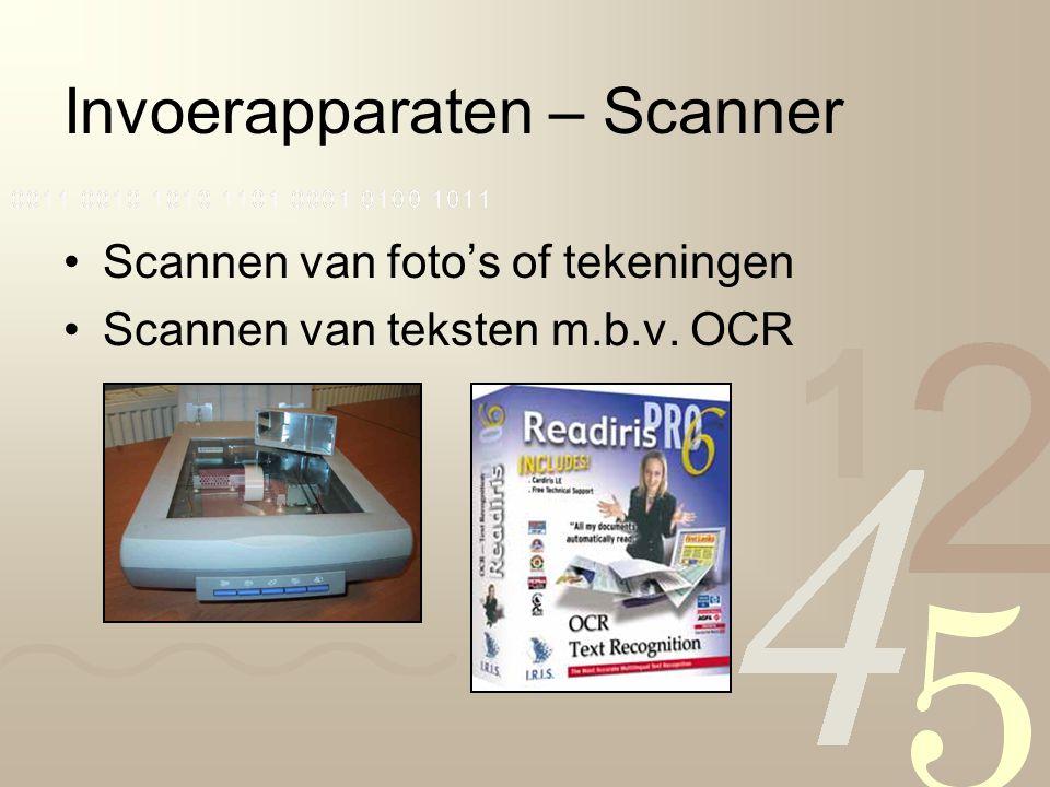 Invoerapparaten – Scanner Scannen van foto's of tekeningen Scannen van teksten m.b.v. OCR