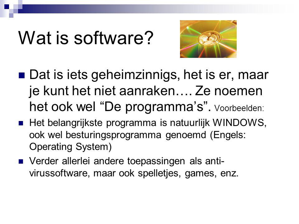 """Wat is software? Dat is iets geheimzinnigs, het is er, maar je kunt het niet aanraken…. Ze noemen het ook wel """"De programma's"""". Voorbeelden: Het belan"""