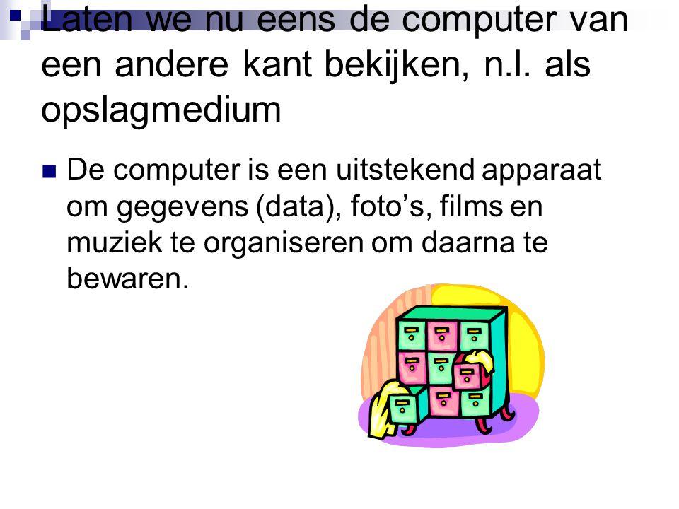 Laten we nu eens de computer van een andere kant bekijken, n.l. als opslagmedium De computer is een uitstekend apparaat om gegevens (data), foto's, fi