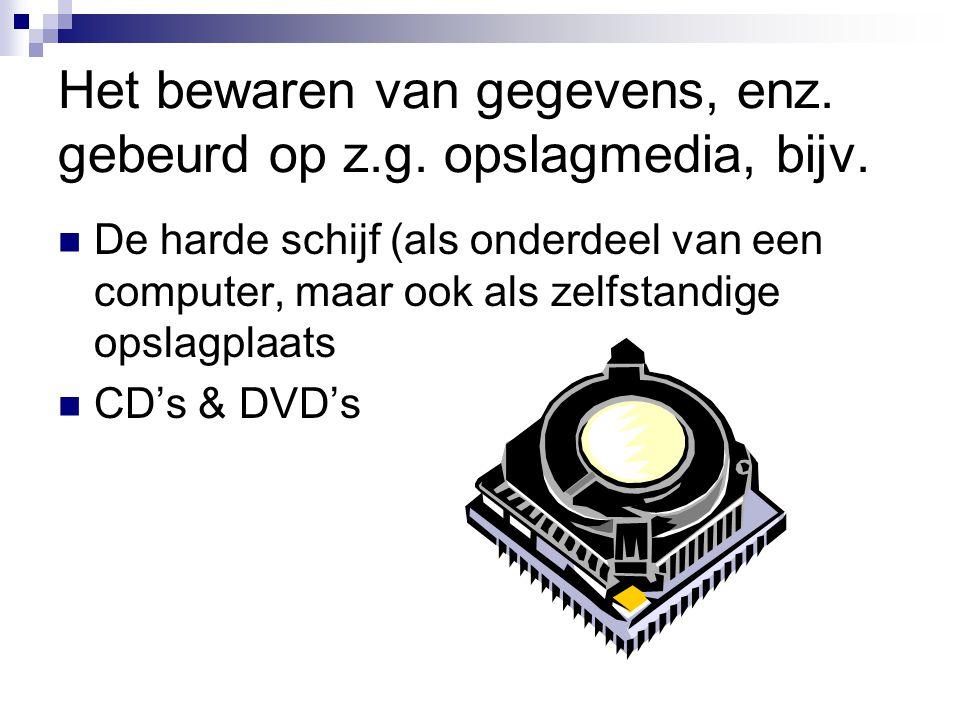Het bewaren van gegevens, enz. gebeurd op z.g. opslagmedia, bijv. De harde schijf (als onderdeel van een computer, maar ook als zelfstandige opslagpla