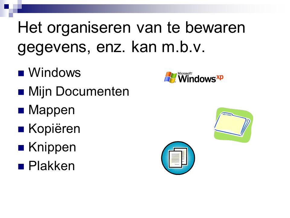 Het organiseren van te bewaren gegevens, enz. kan m.b.v. Windows Mijn Documenten Mappen Kopiëren Knippen Plakken