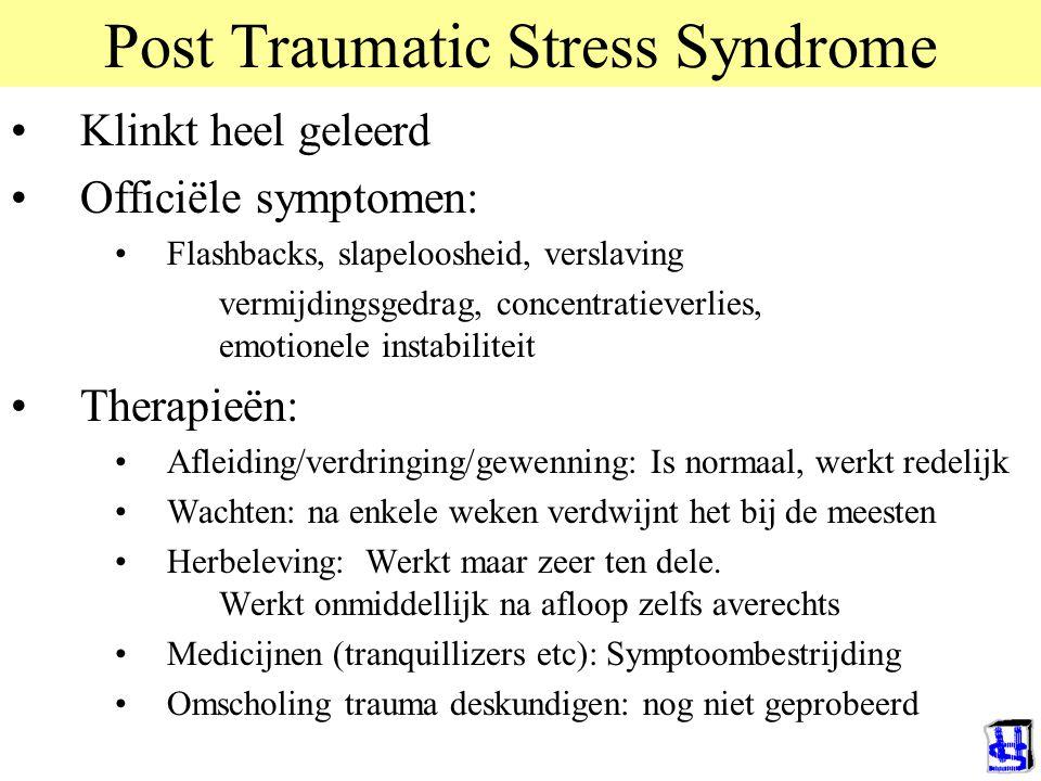 Post Traumatic Stress Syndrome Klinkt heel geleerd Officiële symptomen: Flashbacks, slapeloosheid, verslaving vermijdingsgedrag, concentratieverlies,