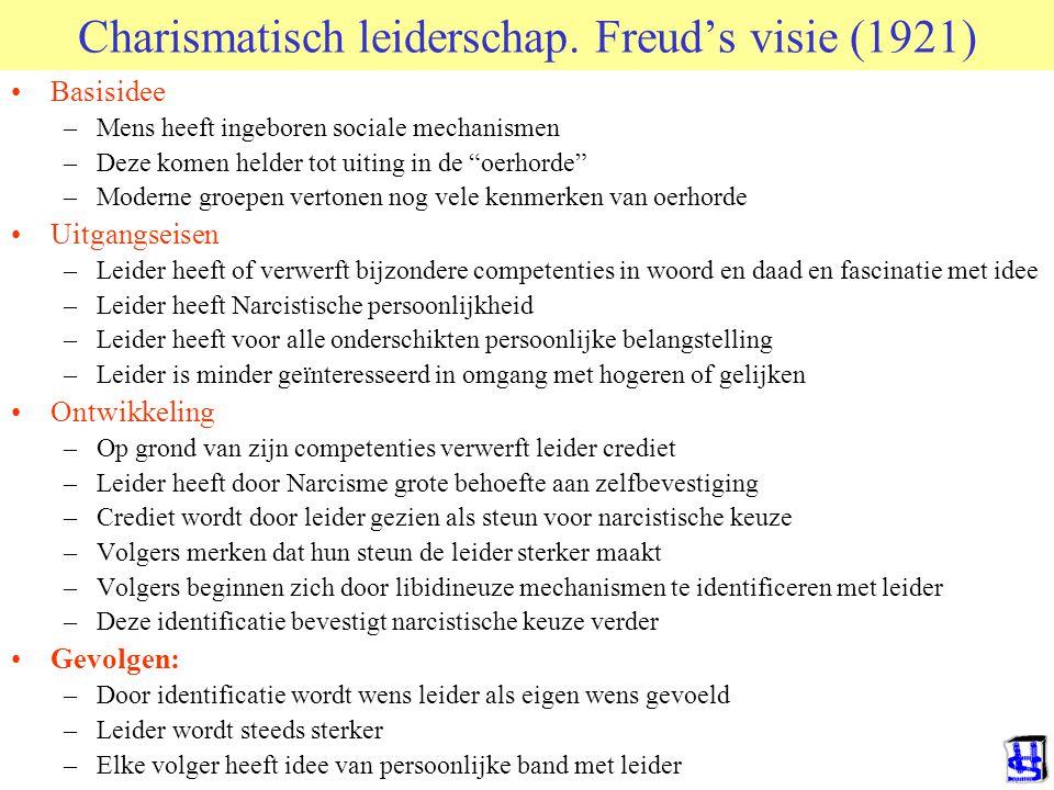"""Charismatisch leiderschap. Freud's visie (1921) Basisidee –Mens heeft ingeboren sociale mechanismen –Deze komen helder tot uiting in de """"oerhorde"""" –Mo"""