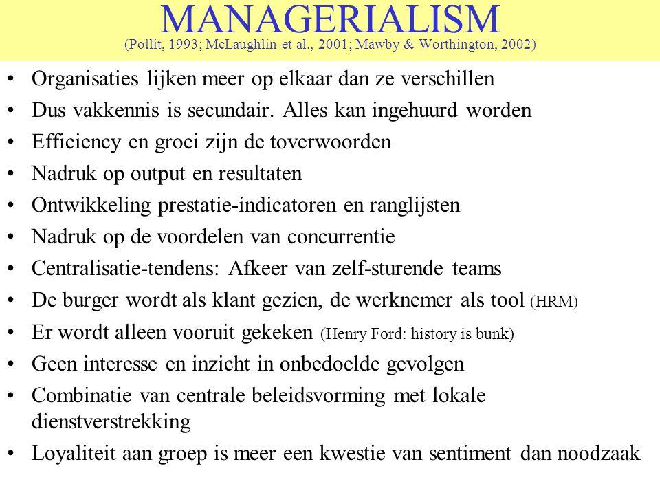 MANAGERIALISM (Pollit, 1993; McLaughlin et al., 2001; Mawby & Worthington, 2002) Organisaties lijken meer op elkaar dan ze verschillen Dus vakkennis i