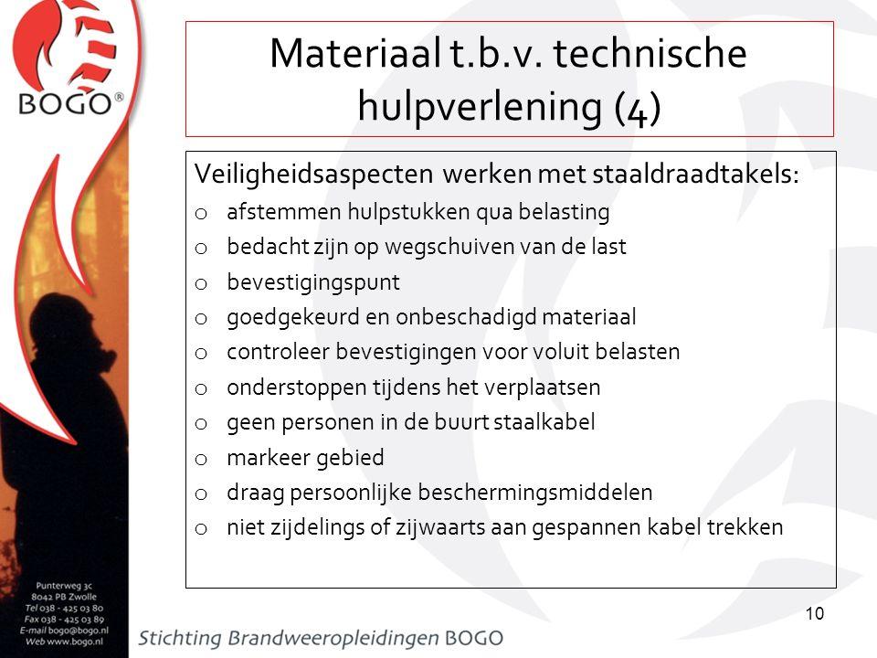 Materiaal t.b.v. technische hulpverlening (4) Veiligheidsaspecten werken met staaldraadtakels: o afstemmen hulpstukken qua belasting o bedacht zijn op