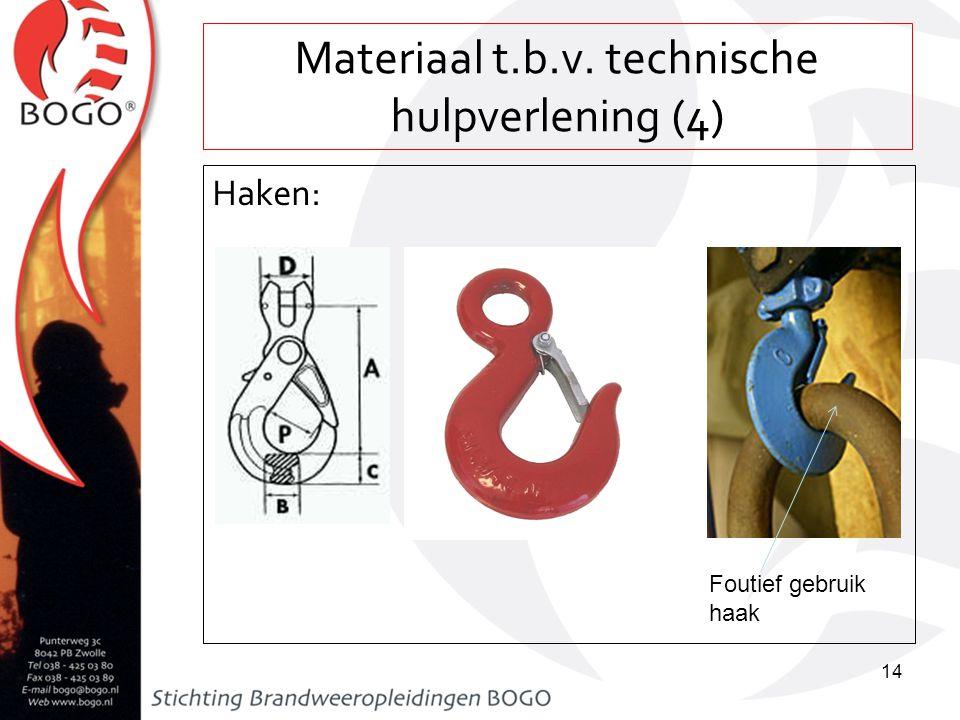 Materiaal t.b.v. technische hulpverlening (4) Haken: 14 Foutief gebruik haak