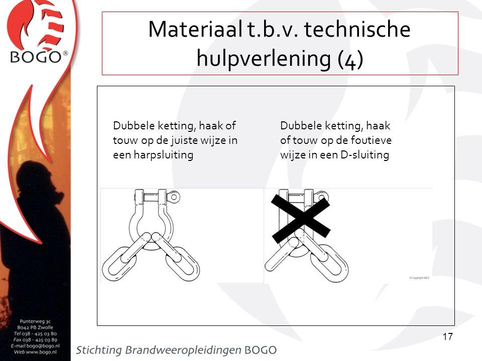 Materiaal t.b.v. technische hulpverlening (4) 17 Dubbele ketting, haak of touw op de juiste wijze in een harpsluiting Dubbele ketting, haak of touw op