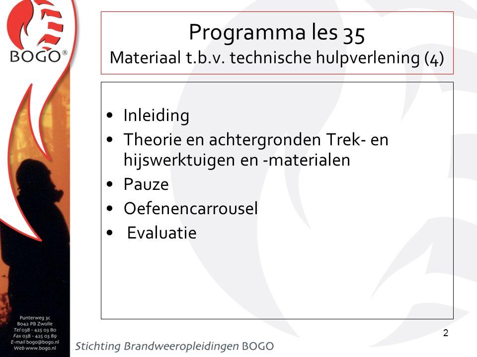 Programma les 35 Materiaal t.b.v. technische hulpverlening (4) Inleiding Theorie en achtergronden Trek- en hijswerktuigen en -materialen Pauze Oefenen