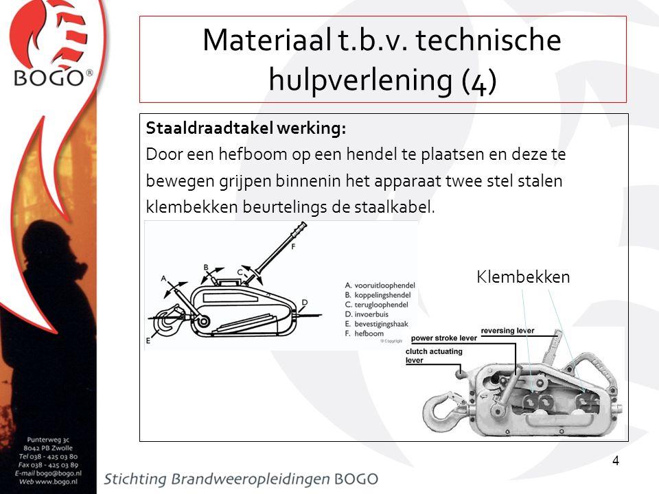Materiaal t.b.v. technische hulpverlening (4) Staaldraadtakel werking: Door een hefboom op een hendel te plaatsen en deze te bewegen grijpen binnenin