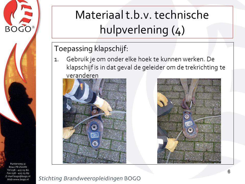 Materiaal t.b.v. technische hulpverlening (4) Toepassing klapschijf: 1.Gebruik je om onder elke hoek te kunnen werken. De klapschijf is in dat geval d