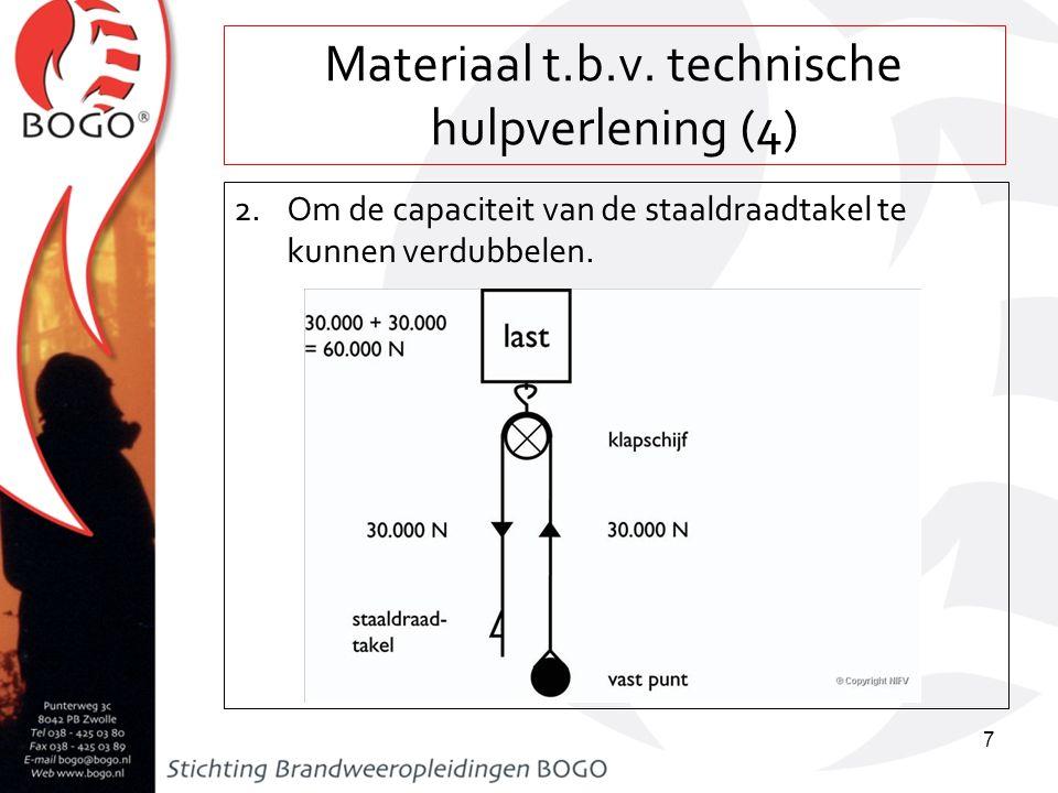 Materiaal t.b.v. technische hulpverlening (4) 2.Om de capaciteit van de staaldraadtakel te kunnen verdubbelen. 7