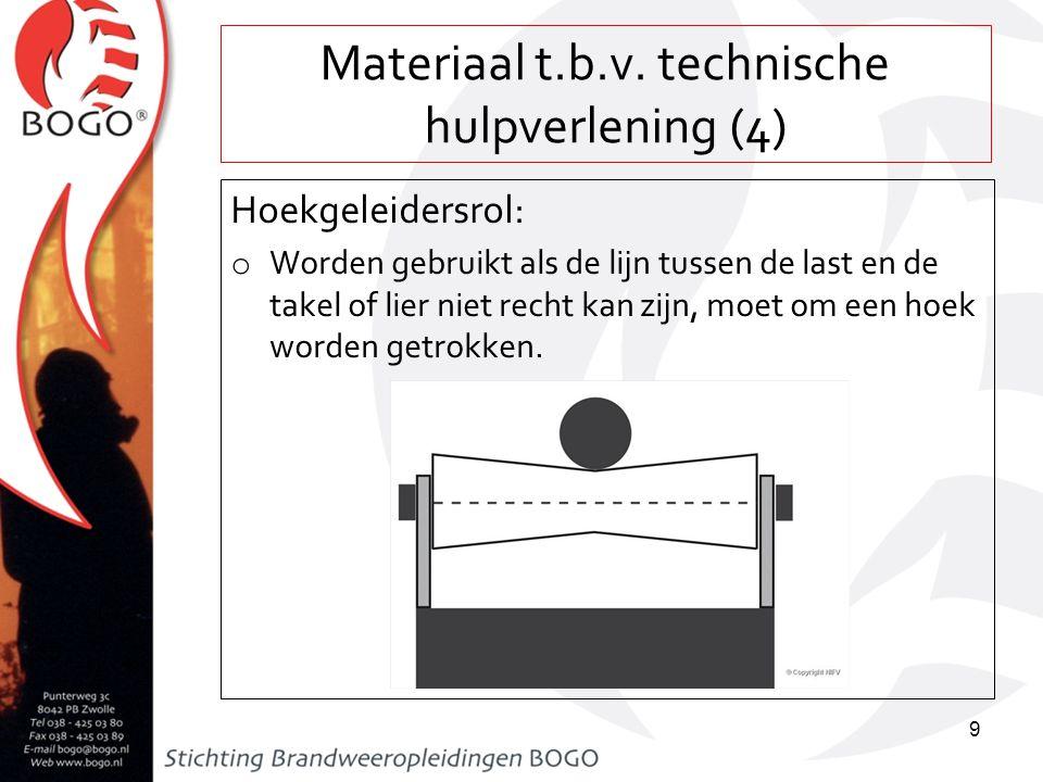 Materiaal t.b.v. technische hulpverlening (4) Hoekgeleidersrol: o Worden gebruikt als de lijn tussen de last en de takel of lier niet recht kan zijn,