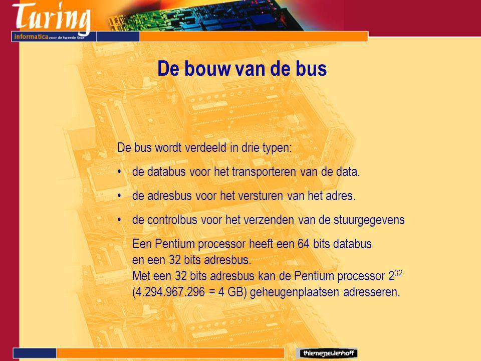 De bouw van de bus De bus wordt verdeeld in drie typen: de databus voor het transporteren van de data.