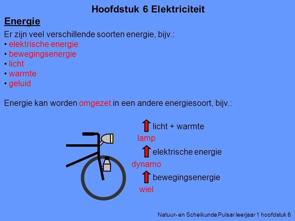 Natuur- en Scheikunde Pulsar leerjaar 1 hoofdstuk 6 Hoofdstuk 6 Elektriciteit Energie Er zijn veel verschillende soorten energie, bijv.: elektrische e