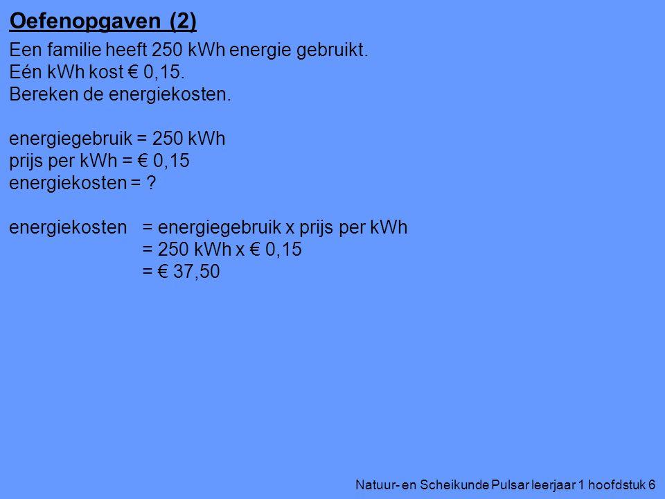Natuur- en Scheikunde Pulsar leerjaar 1 hoofdstuk 6 Oefenopgaven (2) Een familie heeft 250 kWh energie gebruikt. Eén kWh kost € 0,15. Bereken de energ